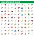 100 coaching icons set cartoon style vector image