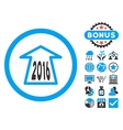 2016 Ahead Arrow Flat Icon with Bonus vector image vector image