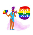 african transgender activist with rainbow fan vector image vector image