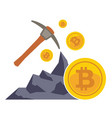 bitcoin mining concept with pickaxe coin and vector image vector image