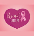 breast cancer text and ribbon on heart pink vector image vector image
