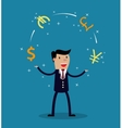 Businessman juggle with different currency vector image vector image