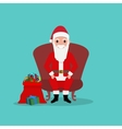 Cartoon Santa Claus sits in chair with bag gifts vector image