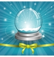 Christmas background with snow globe vector image vector image