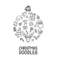 christmas doodles elements laid out in shape vector image vector image
