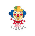 circus logo emblem with clown for amusement park vector image vector image