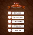 Coffee House Premium Quality menu list designs vector image vector image