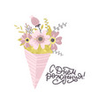congratulationsgreeting card with a bouquet of vector image vector image