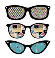 creative set of retro sunglasses with pattern vector image