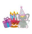 cute and little elephant with party hat and cake vector image vector image