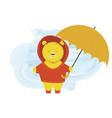 cute bear in a hood stands with an umbrella vector image