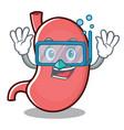 diving stomach character cartoon mascot vector image