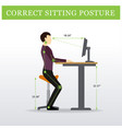ergonomic saddle sitting chair and height vector image