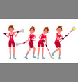 female lacrosse player profesional sport vector image vector image