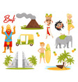 flat set of icons related to bali theme vector image