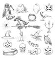 Halloween party sketch decorative icons vector image vector image