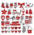 hand drawn christmas gifts and boxes vector image