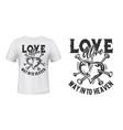 heart love t-shirt print mockup broken vector image