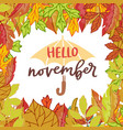hello november poster with bright autumn birch vector image vector image