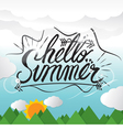 Hello Summer Hand Lettering Summer Vacation vector image vector image