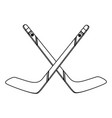 hocket sticks crossed black and white vector image vector image
