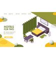 hotel room landing page or banner template 3d vector image vector image