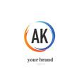 initial letter ak creative swoosh design logo