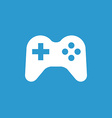joystick icon white on blue background vector image