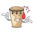 listening music conga mascot cartoon style vector image