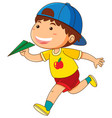 little boy with green paper airplane vector image vector image