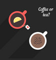 offee and tea with long shadow vector image vector image