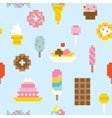 Pixel art sweets seamless pattern vector image vector image