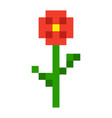 pixel flowers art cartoon retro game style vector image