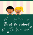 school table draw with children vector image