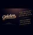 set elegant gold colored metal chrome alphabet vector image vector image