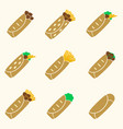 set of color tortilla food icons set eps10 vector image vector image