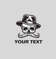 skull mustache in hat logo vector image