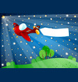 surreal night with lights airplane and banner vector image