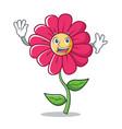 waving pink flower character cartoon vector image vector image