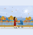 woman with a bain park autumn walk vector image vector image