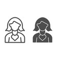 women with heart line and glyph icon woman day vector image