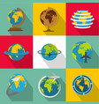 world map icons set flat style vector image