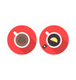 offee and tea in red circles vector image