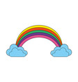 color rainbow with clouds cartoon vector image