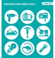 set of round icons white Construction Power Tools vector image