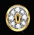 0 number gold and diamond bling vector image vector image