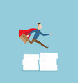 businessman in red cape running and jumping over vector image vector image