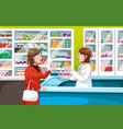 buying medicine in pharmacy vector image vector image