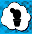 cactus sign black icon in vector image