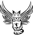 Cat with wings tattoo stencil vector image vector image